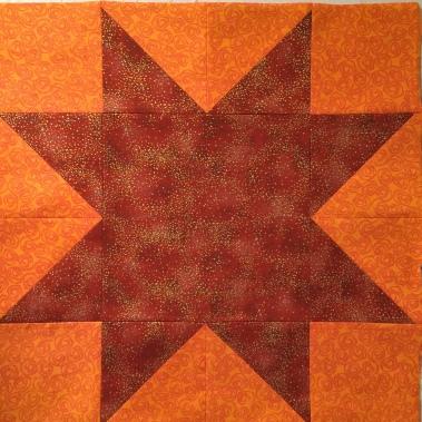 Orange Large Star Block (Sawtooth)