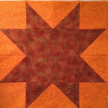 Orange Large Star Block (Sawtooth)